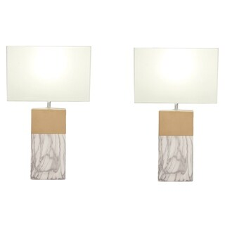 Urban Designs 25-inch Rectangular Column Ceramic Table Lamp (Set of 2)