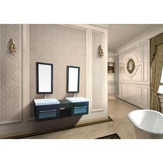 Dawn Vanity Set UN8808-06: Sink Top (2 pcs), Cabinets (2 pcs), Mirror (2 pcs) and Open Shelf (1 pc)