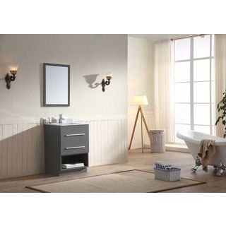 Dawn Vanity Set (Counter Top, Backsplash, Cabinet, Cabinet Base and Mirror included) Wall Mount Dark Grey Vanity