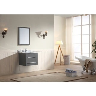 Dawn Vanity Set (Counter Top, Backsplash, Cabinet and Mirror included) Wall Mount Dark Grey Cabinet