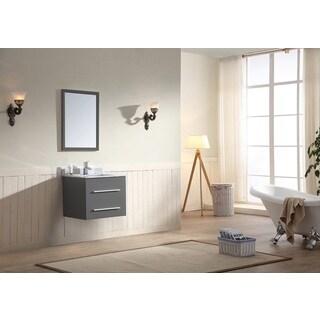 Dawn Vanity Set (Counter Top, Backsplash, Cabinet and Mirror included) Wall Mount Dark Grey Cabinet