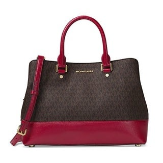 Michael Kors Savannah Brown/Cherry Signature Large Satchel Handbag