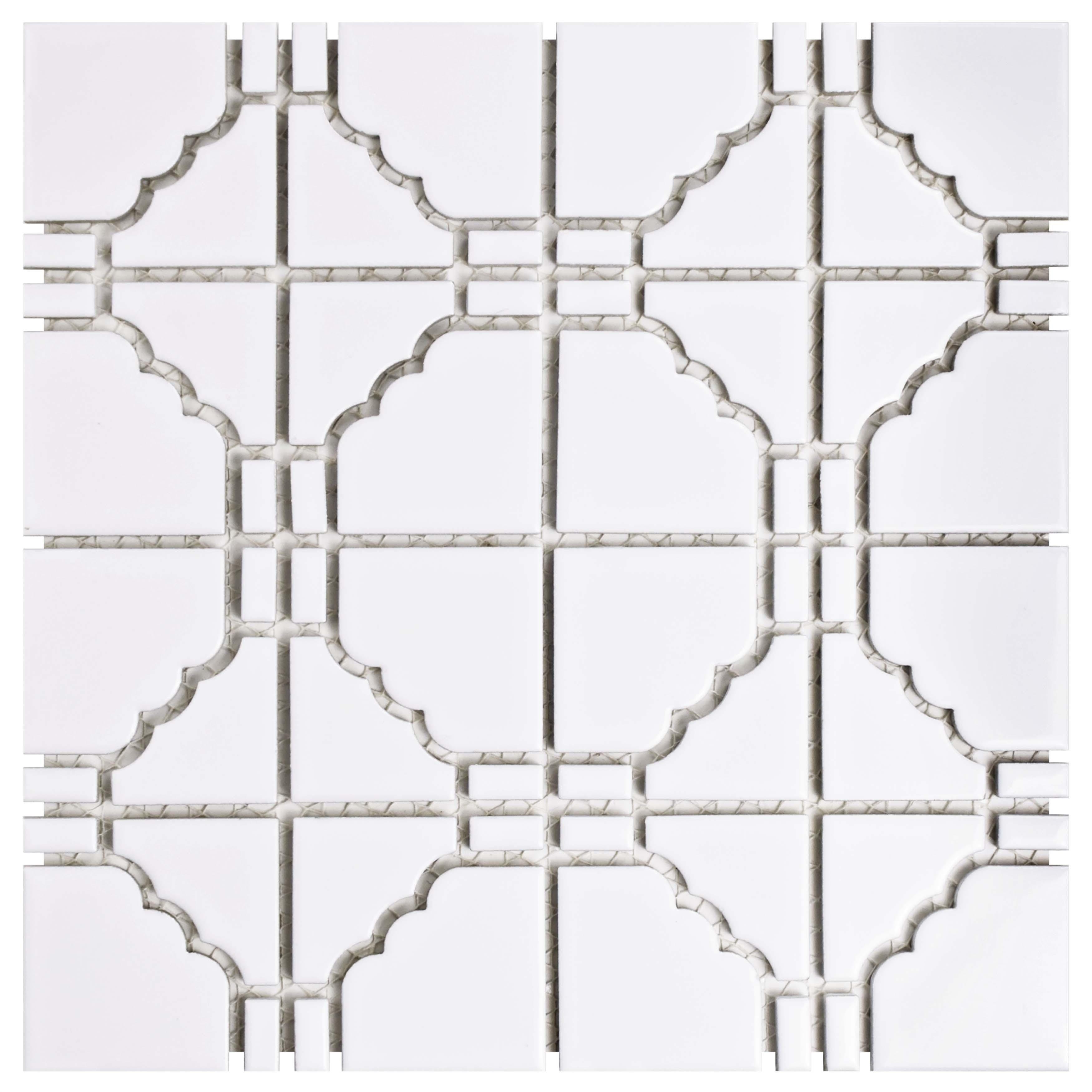 "Somertile 11.75""x11.75"" Namba Porcelain Mosaic Floor and Wall Tile, Glossy White"