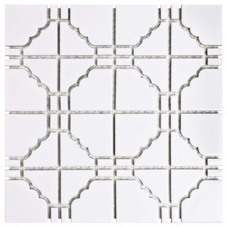 SomerTile 11.75x11.75-inch Namba Glossy White Porcelain Mosaic Floor and Wall Tile (10/Case, 9.79 sqft.)