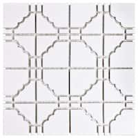 SomerTile 11.75x11.75-inch Namba Glossy White Porcelain Mosaic Floor and Wall Tile (10 tiles/9.79 sqft.)