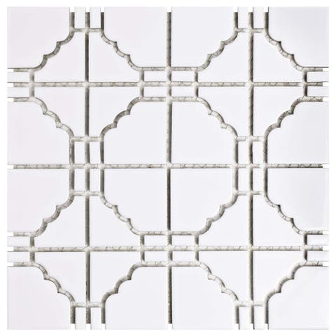 SomerTile 11.75x11.75-inch Namba Glossy White Porcelain Mosaic Floor and Wall Tile (10 tiles/9.79 sqft.)