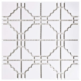 Link to SomerTile 11.75x11.75-inch Namba Glossy White Porcelain Mosaic Floor and Wall Tile (10 tiles/9.79 sqft.) Similar Items in Tile