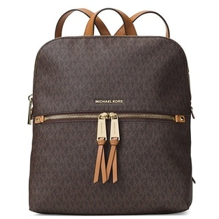 Michael Kors Rhea Medium Signature Brown Slim Fashion Backpack