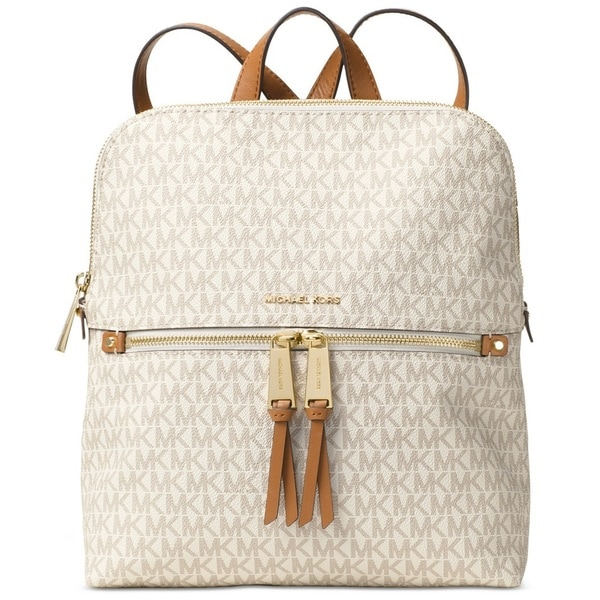 6defd6161179 Michael Kors Rhea Medium Signature Vanilla Slim Fashion Backpack