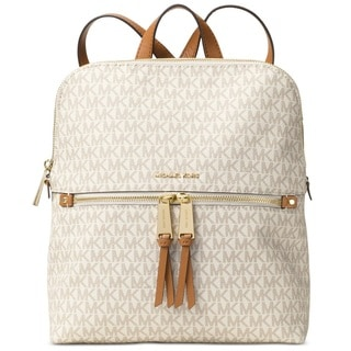 Michael Kors Rhea Medium Signature Vanilla Slim Fashion Backpack