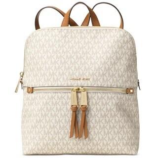 Michael Kors Rhea Medium Signature Vanilla Slim Fashion Backpack
