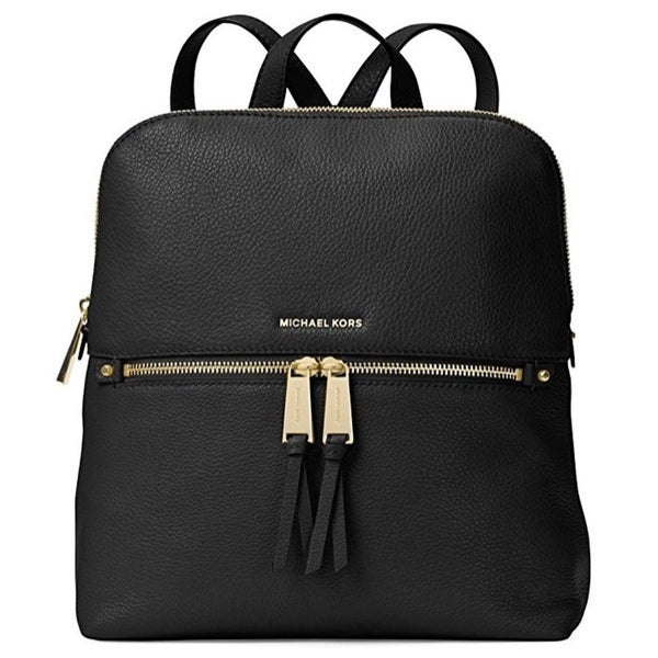 3a4d8aebc69d Shop MICHAEL Michael Kors Rhea Medium Slim Backpack Black Gold ...