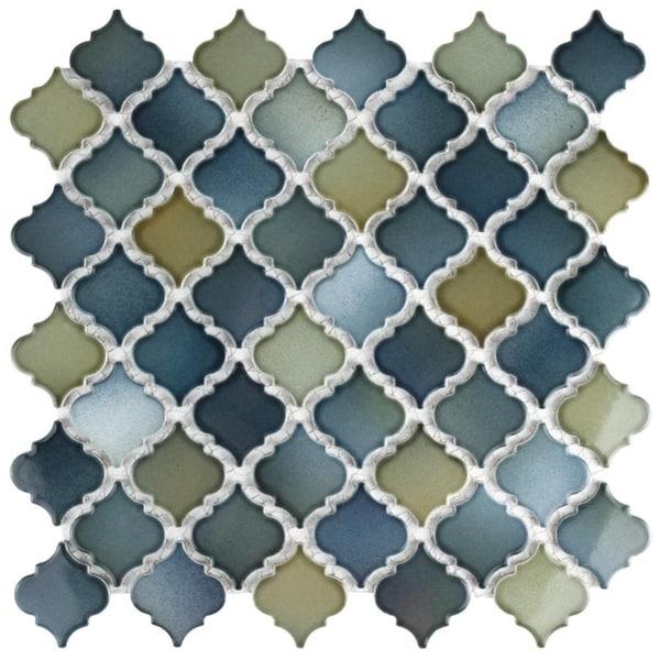 SomerTile 12.375x12.5-inch Antaeus Atlantis Porcelain Mosaic Floor and Wall Tile. Opens flyout.
