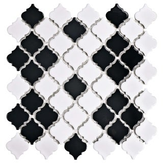 SomerTile 12.375x12.5-inch Antaeus Glossy Black and White Porcelain Mosaic Floor and Wall Tile (10/C