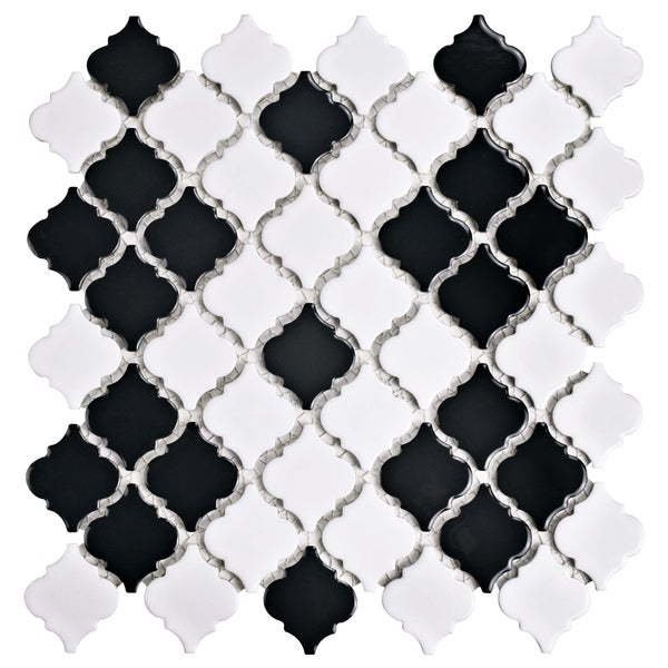 SomerTile 12.375x12.5-inch Antaeus Glossy Black and White Porcelain Mosaic Floor and Wall Tile (10/Case, 10.7 sqft.)