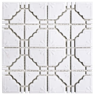 SomerTile 11.75x11.75-inch Luna Glossy White Porcelain Mosaic Floor and Wall Tile (10/Case, 9.79 sqft.)