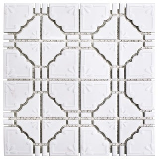 SomerTile 11.75x11.75-inch Luna Glossy White Porcelain Mosaic Floor and Wall Tile (10/Case, 9.79 sqf