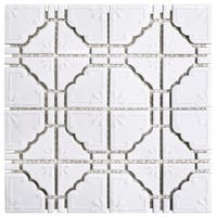 SomerTile 11.75x11.75-inch Luna Glossy White Porcelain Mosaic Floor and Wall Tile (10 tiles/9.79 sqft.)