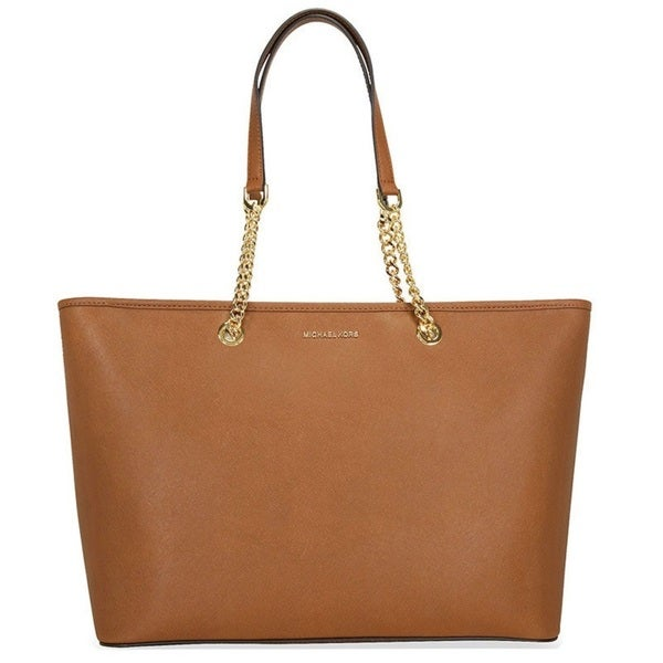 Michael Kors Jet Set Travel Medium Luggage Brown Saffiano Leather Tote Bag