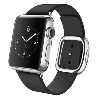 Apple Watch 38mm Stainless Steel Case with Black Modern Buckle (Medium)