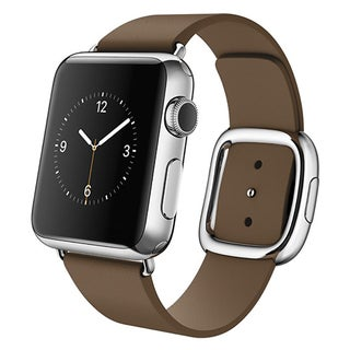 Apple Watch 38mm Stainless Steel Case with Brown Modern Buckle (Small)