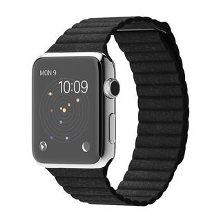 Apple Watch 42MM Stainless Steel Case with Leather Band (Medium)