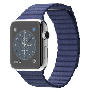 Apple Watch 42MM Stainless Steel Case with Blue Leather Band (Large)