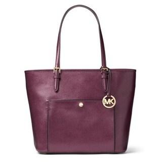 Michael Kors Jet Set Saffiano Leather Top-zip Plum Tote Handbag