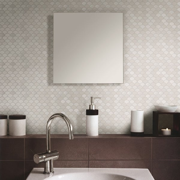 Somertile 11 25x12 Inch Expresiones Scallop White Gl Mosaic Floor And Wall Tile 10