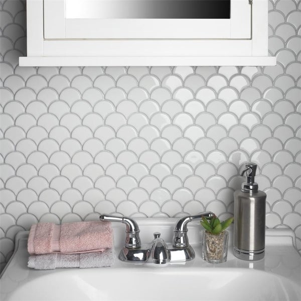 ad573fc232 SomerTile 11.25x12-inch Expresiones Scallop White Glass Mosaic Floor and  Wall Tile (10