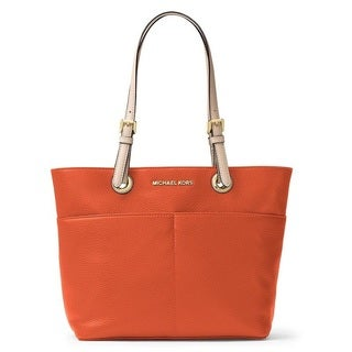 Michael Kors Bedford Orange Top Zip Pocket Handbag Tote Bag