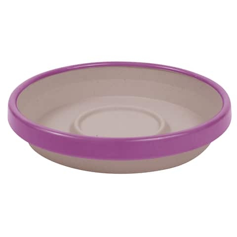 Bloem Terra Taupe and Passion Fruit Two-tone 12-inch Planter Saucer