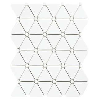 SomerTile 10.125x12.875-inch Expresiones Treux White Glass Mosaic Floor and Wall Tile (10/Case, 9.25 sqft.)