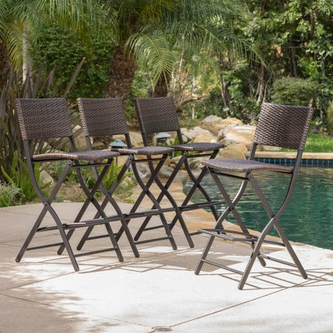 Margarita Outdoor Wicker Bar Stool (Set of 4) by Christopher Knight Home