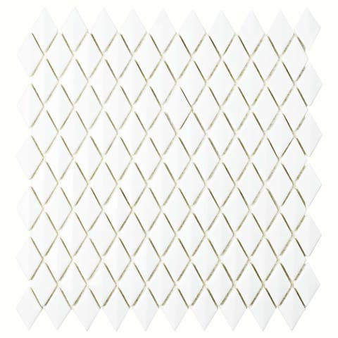 SomerTile 11.625x12-inch Expresiones Bevel Diamond White Glass Mosaic Floor and Wall Tile (10 tiles/9.89 sqft.)