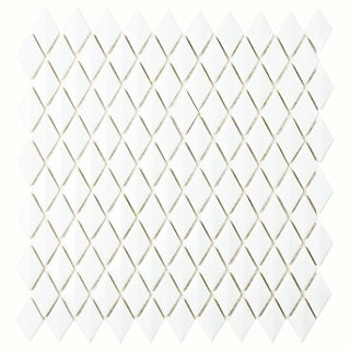 SomerTile 11.625x12-inch Expresiones Bevel Diamond White Glass Mosaic Floor and Wall Tile (10/Case, 9.89 sqft.)