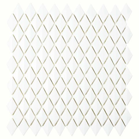 SomerTile 11.625x12-inch Expresiones Bevel Diamond White Glass Mosaic Floor and Wall Tile
