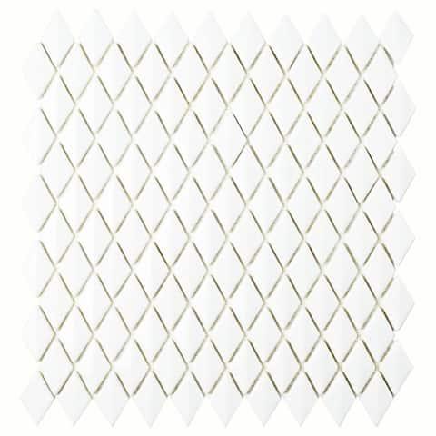 "SomerTile Expressions Beveled Diamond White 1.63"" x 12"" Glass Mosaic Tile"