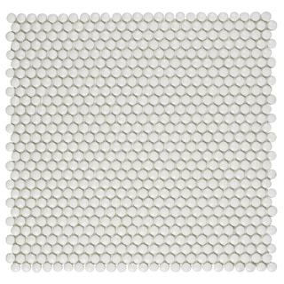 SomerTile 12.5x12.5-inch Expresiones Button White Glass Mosaic Floor and Wall Tile (10/Case, 11.07 sqft.)
