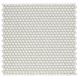 SomerTile 12.5x12.5-inch Expresiones Button White Glass Mosaic Floor and Wall Tile (10/Case, 11.07 s