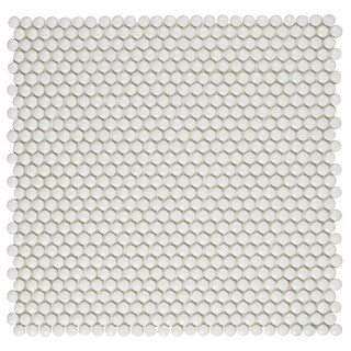 SomerTile 12.5x12.75-inch Expresiones Button White Glass Mosaic Floor and Wall Tile (10 tiles/11.1 sqft.)