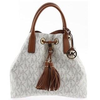 Michael Kors Camden Brown GL Vanilla Signture Satchel Handbag