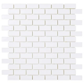 SomerTile 11.75x12-inch Expresiones Recessed Subway White Glass Mosaic Floor and Wall Tile (10/Case,