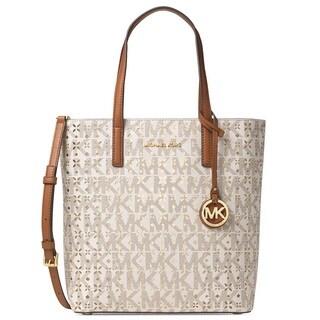 Michael Kors Hayley Medium Vanilla North/South Top Zip Tote Handbag