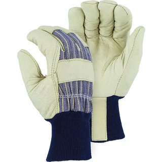 Majestic White Leather-palm and Blue Knit-wrist Poly-lined XL Thermal Gloves