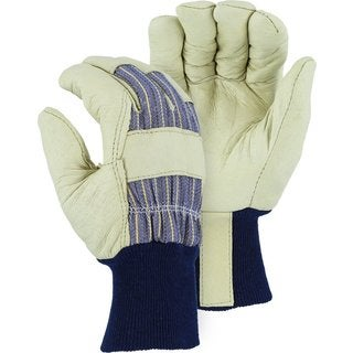 Majestic Off-white Leather-palm and Blue Knit-wrist Poly-lined Large Thermal Gloves