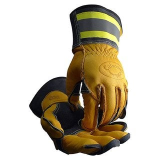 Caiman Tuff Steer Hi-Viz Yellow Boarhide Large Utility Iron Workers Gloves