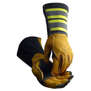 Caiman 1242 Tuff Steer Hi-Viz Welding Boarhide Medium Utility Iron Workers Gloves (1 Pair)
