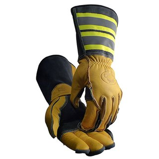 Caiman 1243 Tuff Steer Hi-Viz Utility Iron Workers Boarhide Large Work Gloves