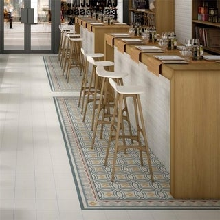 SomerTile 7.875x7.875-inch Piccola Saint Tropez Border Porcelain Floor and Wall Tile